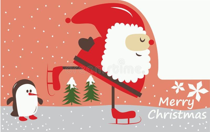 Vector - de Kerstman iceskating! stock illustratie