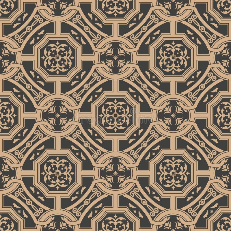 Vector de keten van het van het achtergrond damast naadloze retro patroon veelhoek dwarskader bladbloem Het elegante ontwerp van  vector illustratie