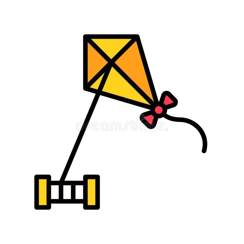 Vector de Kiting, icono llenado relacionado de las vacaciones de verano ilustración del vector