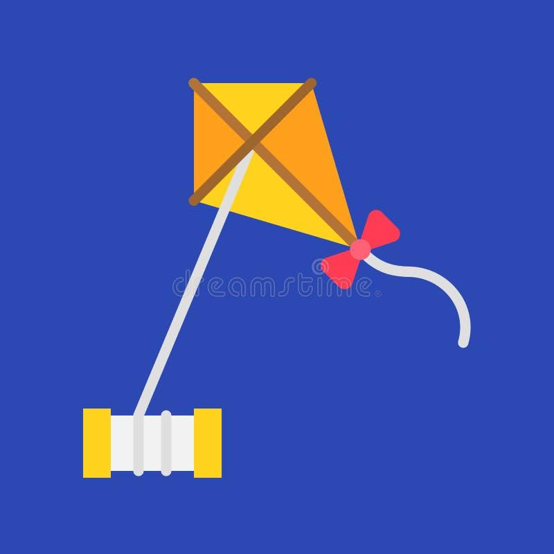 Vector de Kiting, icono plano relacionado de las vacaciones de verano stock de ilustración