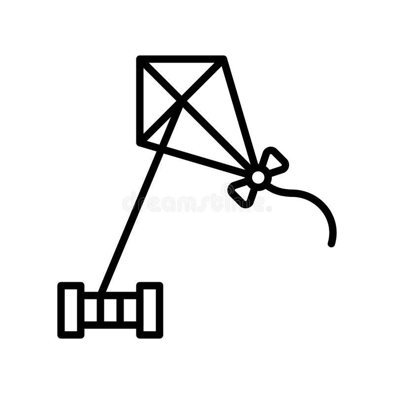 Vector de Kiting, línea relacionada icono de las vacaciones de verano libre illustration