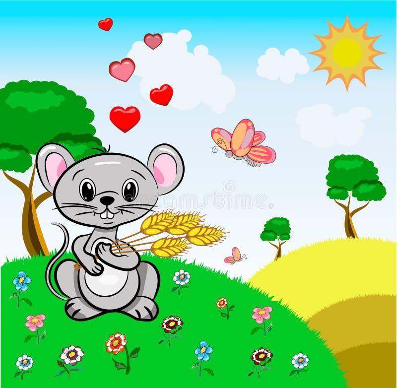 Vector de kleine muis grijze kleur houdt gelukwensen van de het landschaps de leuke vakantie van tarweoren met de Dag van Valenti vector illustratie