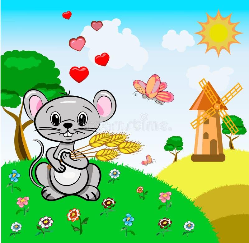Vector de kleine muis grijze kleur houdt gelukwensen van de het landschaps de leuke vakantie van tarweoren met de Dag van Valenti stock illustratie