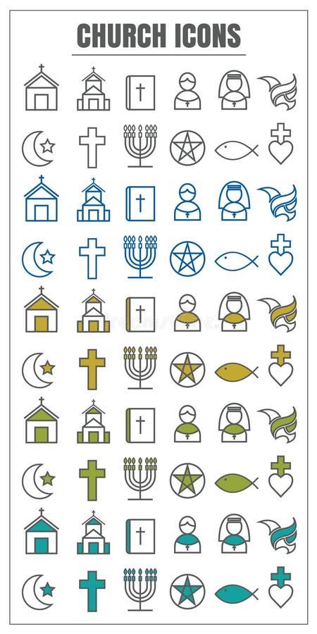 Vector de kleuren zwart Geelgroen blauw van de pictogrammenkerk op witte backg stock illustratie