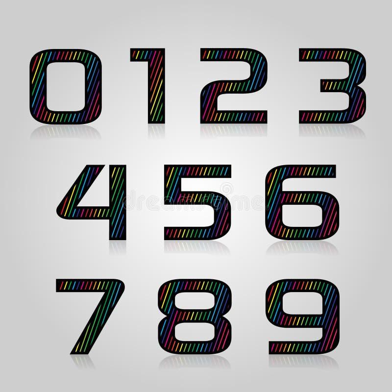 Vector de kleurenaantallen van de reeks retro stijl vector illustratie