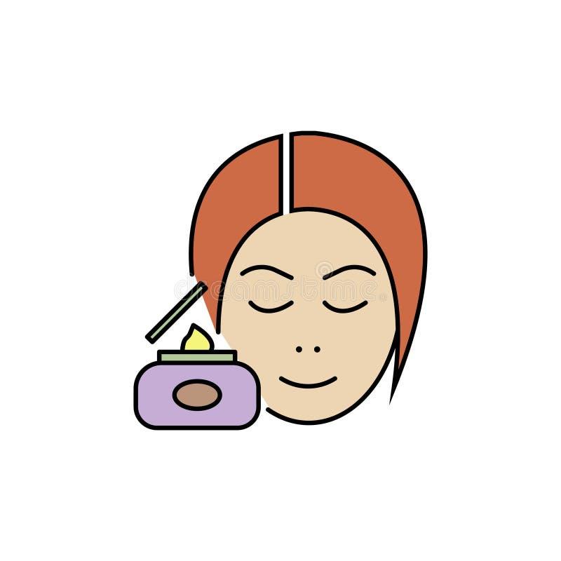 Vector de kleurenpictogram van de huidzorg, kosmetische room, vrouw vector illustratie