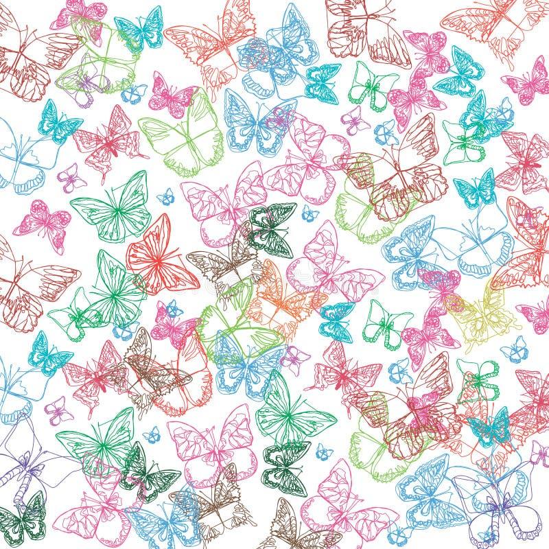 Vector de kunst witte decoratief van het vlinderinsect vector illustratie