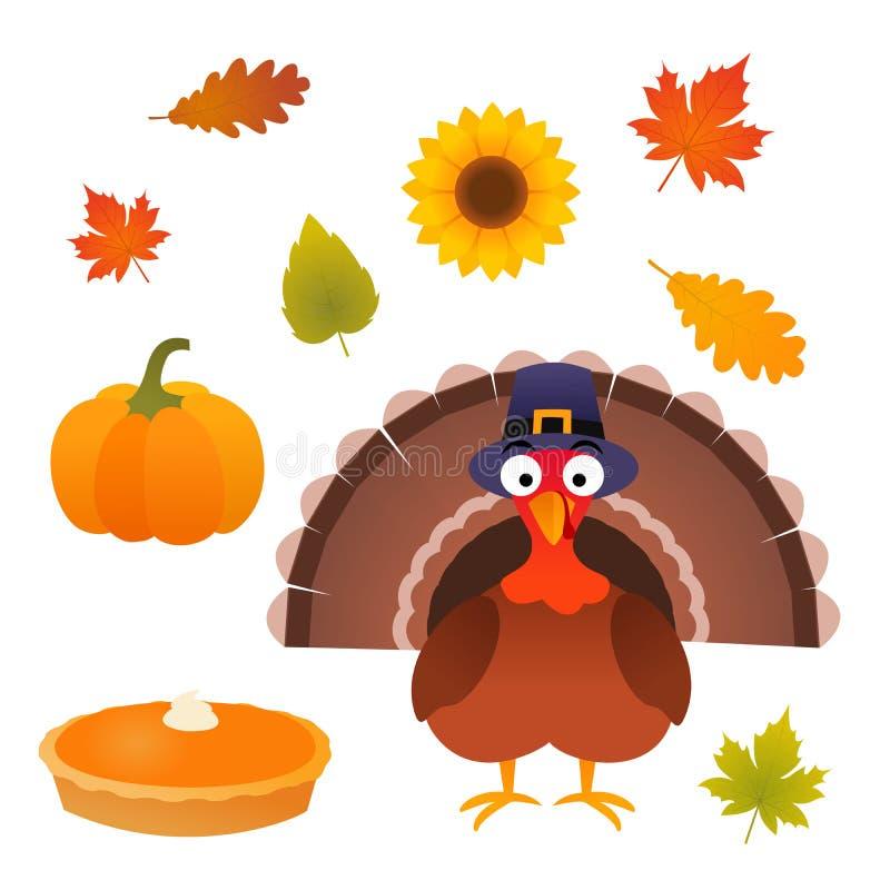 Vector de la acción de gracias fijado con el pavo, la empanada, la calabaza, las hojas y el girasol ilustración del vector