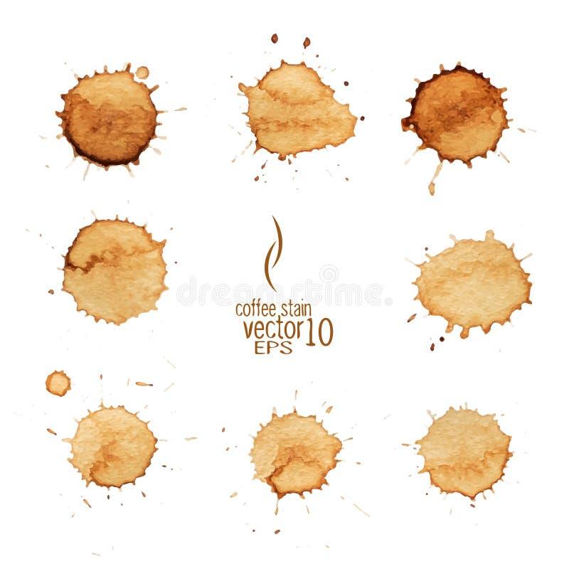 Vector de la acuarela de la mancha del café ilustración del vector