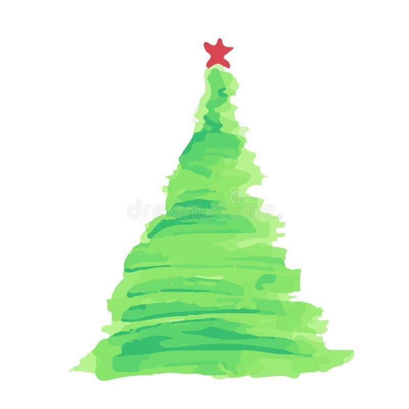 Vector de la acuarela del árbol de navidad stock de ilustración