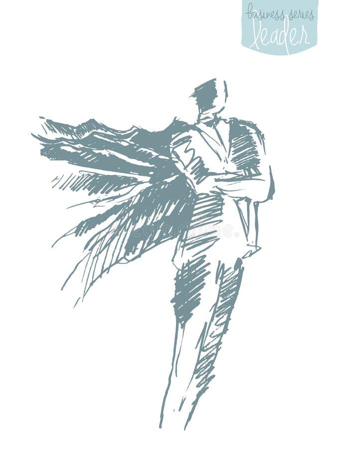 Vector de la aspiración de la libertad de la capa del hombre de negocios que agita ilustración del vector