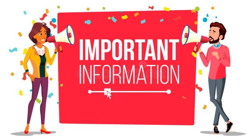 Vector de la bandera de la atención de la información importante Hombre de negocios, mujer con el megáfono altavoz Publicidad de  ilustración del vector