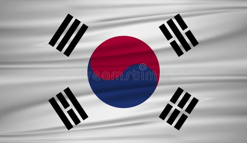 Vector de la bandera de la Corea del Sur Vector la bandera del blowig de la Corea del Sur en el viento ilustración del vector