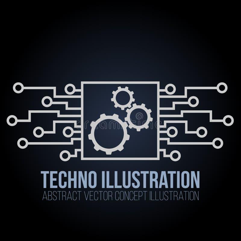 Vector de la bandera de la placa de circuito en fondo negro Los engranajes, la ingeniería y la tecnología, la placa madre y el or stock de ilustración