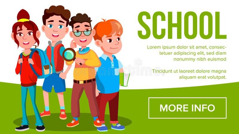 Vector de la bandera de Eduacation de la escuela Muchachas, estudiante Smiling de los muchachos Cartel, sitio web, invitación pup ilustración del vector