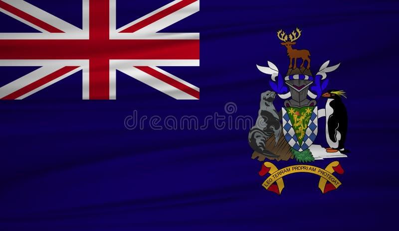 Vector de la bandera de Georgia del sur Vector la bandera del blowig de Georgia del sur en el viento libre illustration