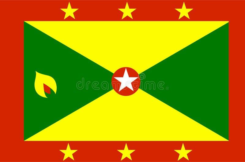 Vector de la bandera de Grenada Ejemplo de la bandera de Grenada stock de ilustración
