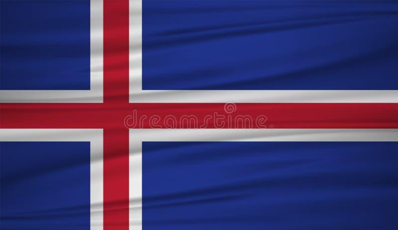 Vector de la bandera de Islandia Vector la bandera del blowig de Islandia en el viento stock de ilustración