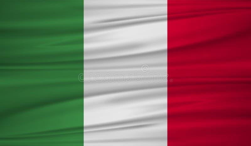 Vector de la bandera de Italia Vector la bandera del blowig de Italia en el viento El símbolo del estado en tela de seda ondulada libre illustration