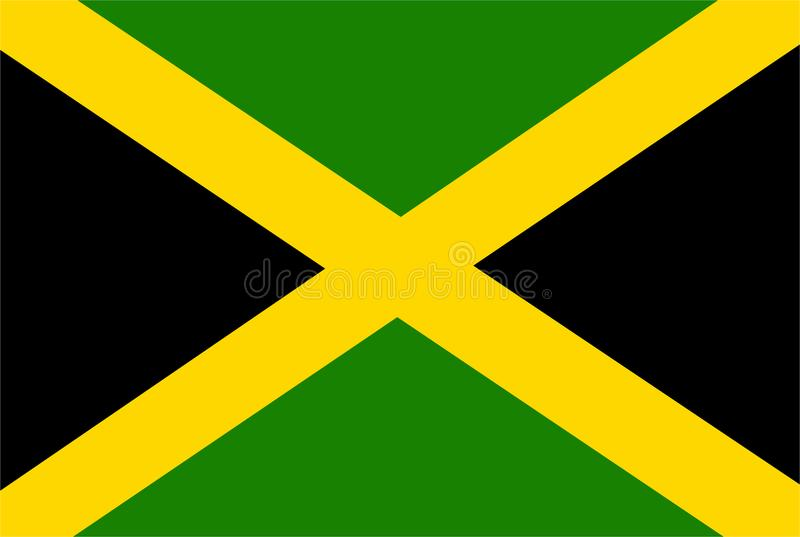Vector de la bandera de Jamaica Ejemplo de la bandera de Jamaica stock de ilustración