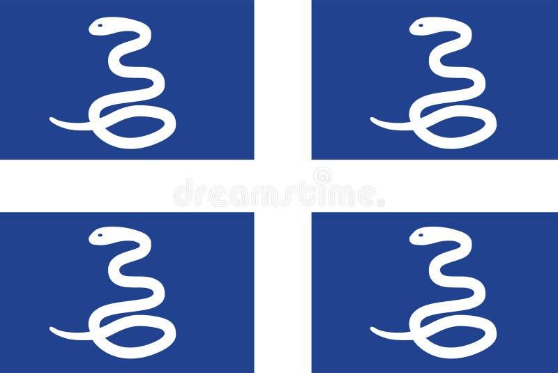 Vector de la bandera de Martinica Ejemplo de la bandera de Martinica stock de ilustración