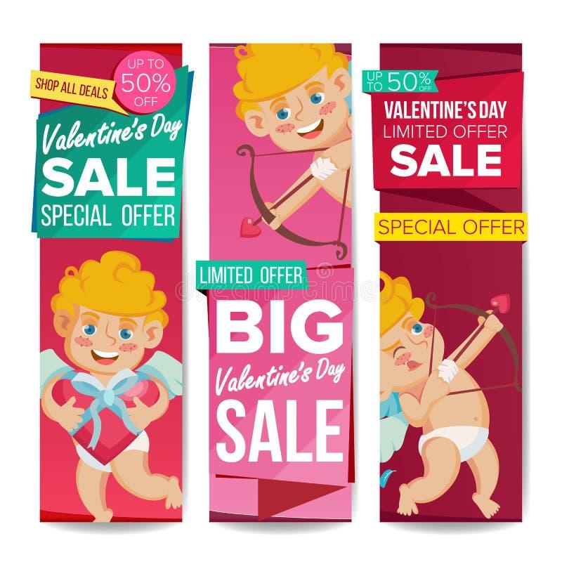 Vector de la bandera de la venta del día de la tarjeta del día de San Valentín s 14 de febrero cupido libre illustration