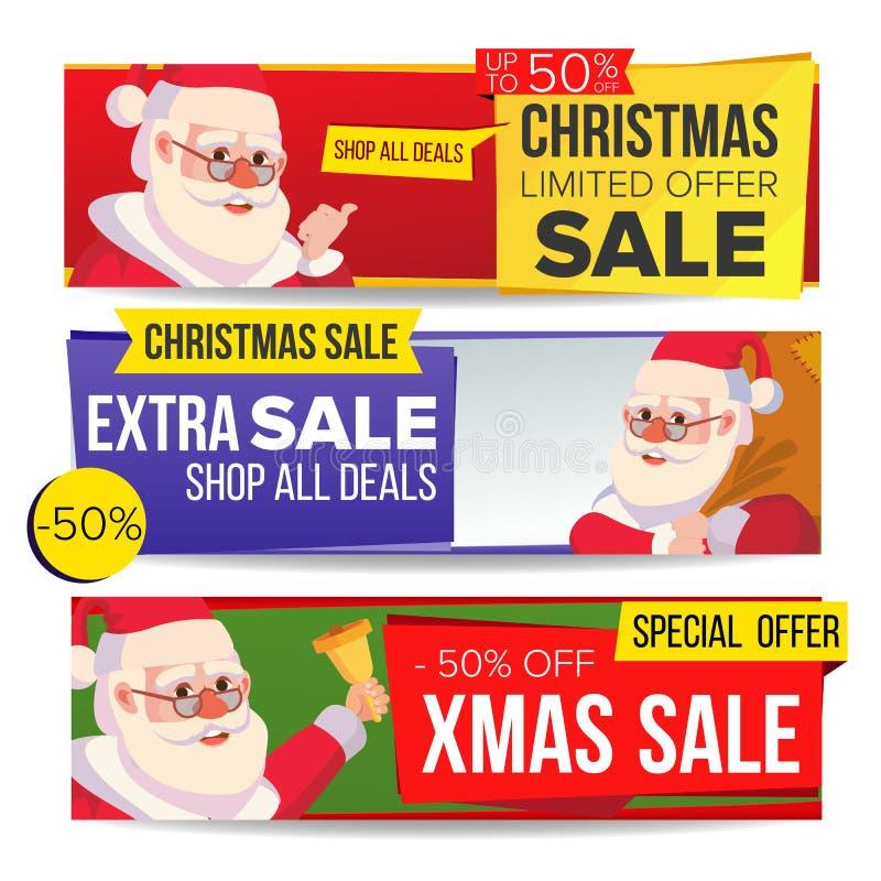 Vector de la bandera de la venta de la Navidad Feliz Navidad Papá Noel Etiqueta del descuento, banderas horizontales de la oferta ilustración del vector