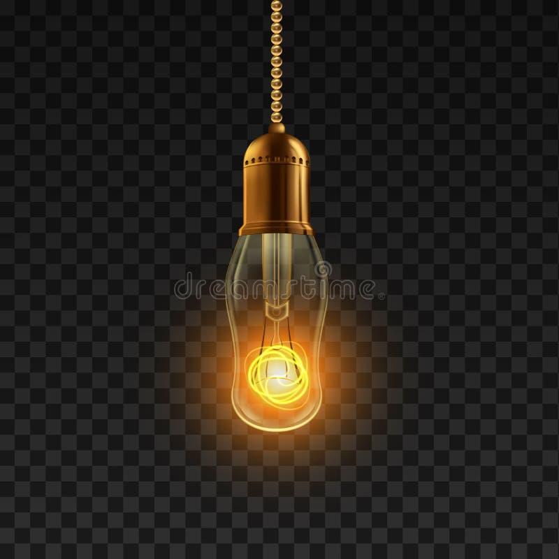 Vector de la bombilla Símbolo iluminado brillante de la bombilla r r stock de ilustración