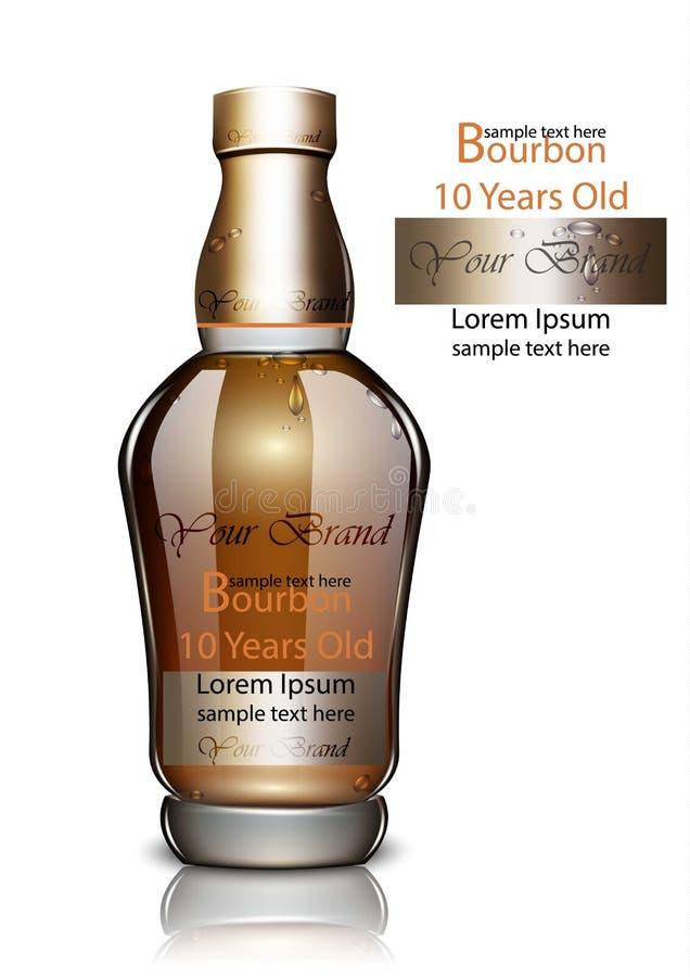 Vector de la botella de Borbón realista Mofa de empaquetado del producto para arriba Viejos paquetes de alta calidad de la bebida libre illustration
