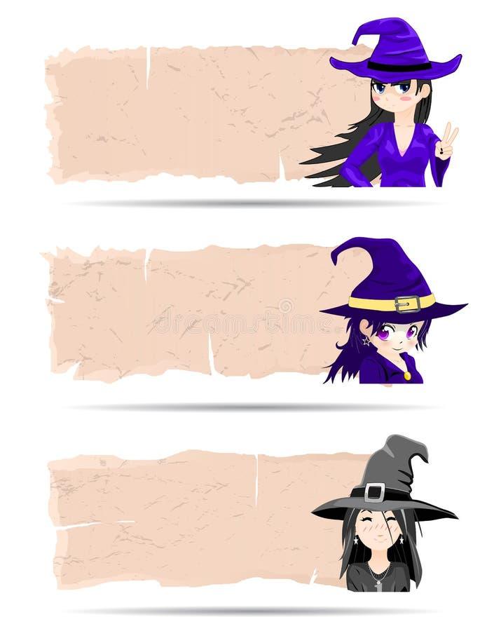 Vector de la bruja de Halloween de las etiquetas engomadas libre illustration
