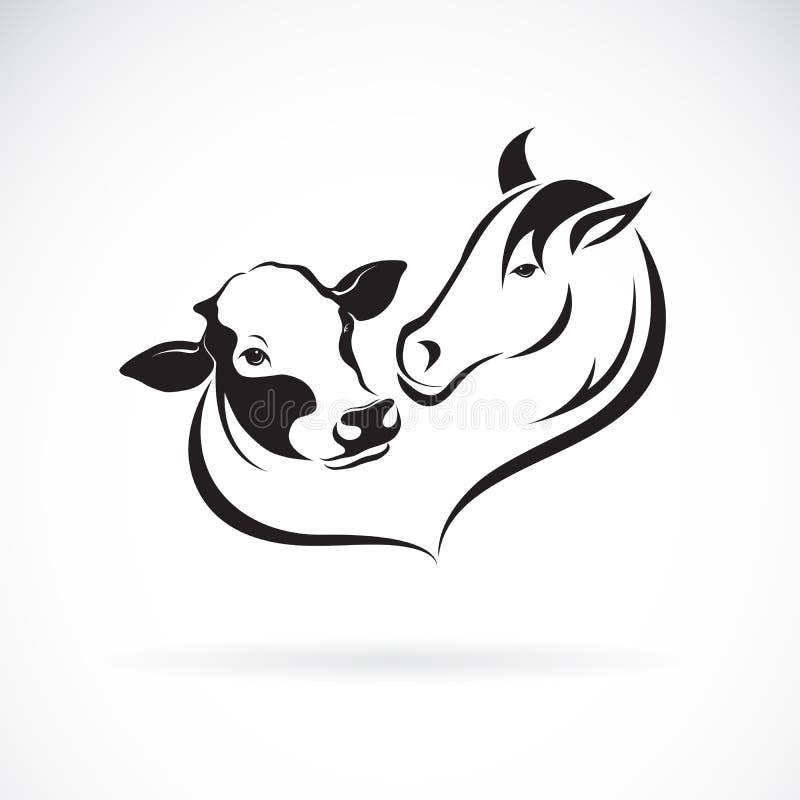 Vector de la cabeza de caballo y del diseño principal de la vaca en un fondo blanco Granja Ejemplo acodado editable f?cil del vec ilustración del vector