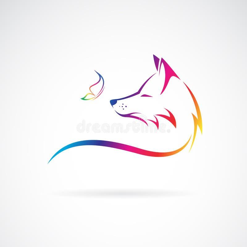 Vector de la cabeza y de la mariposa del zorro en el fondo blanco Animales salvajes Ejemplo acodado editable f?cil del vector ilustración del vector