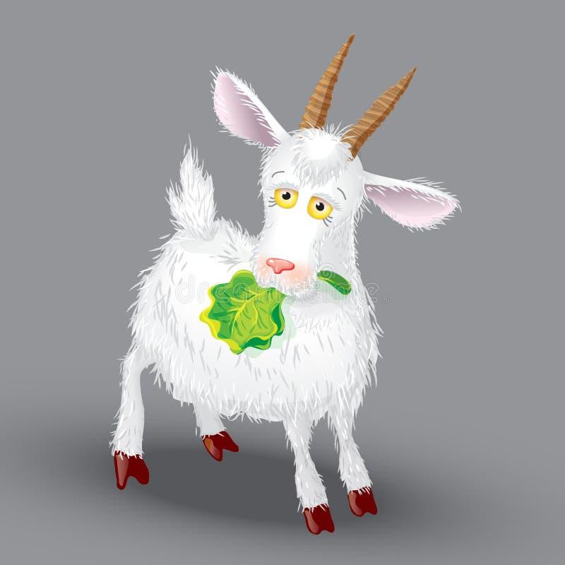 Vector de la cabra en un fondo gris en las garras de ilustración del vector