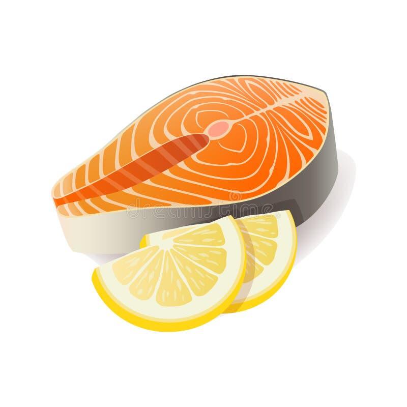 Vector de la carne - el filete de color salmón de los pescados rojos con el limón corta Icono de la carne fresca ilustración del vector