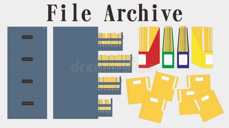 Vector de la carpeta de los datos de la carpeta del cabinete de archivo stock de ilustración