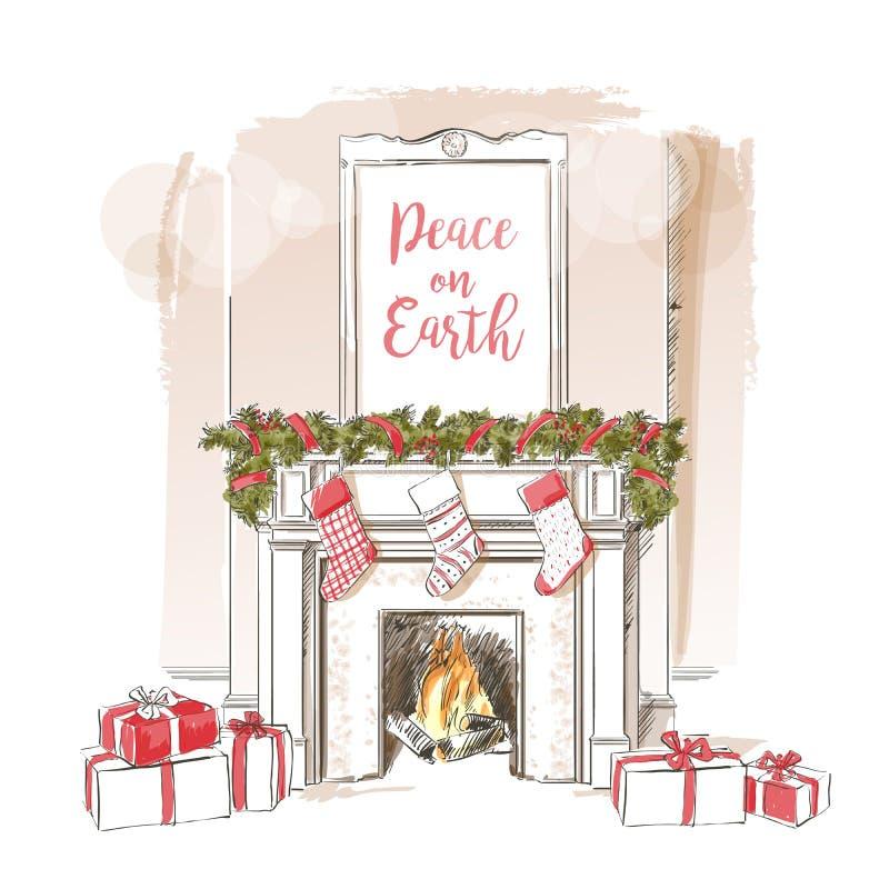 Vector de la chimenea de la Navidad stock de ilustración