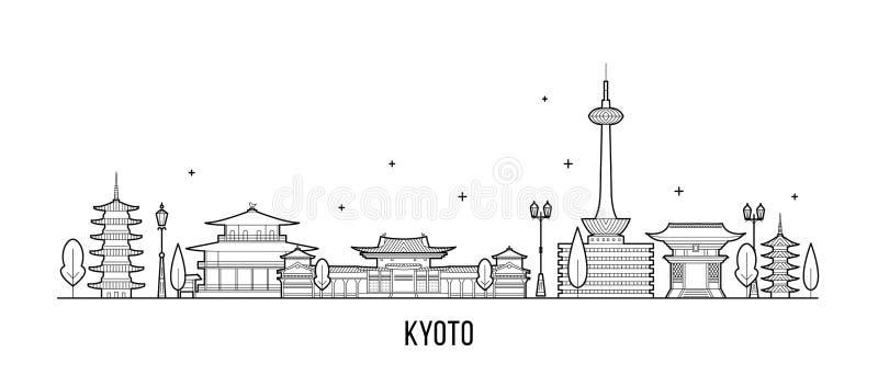Vector de la ciudad de Japón del Tamil Nadu del horizonte de la ciudad de Kyoto ilustración del vector