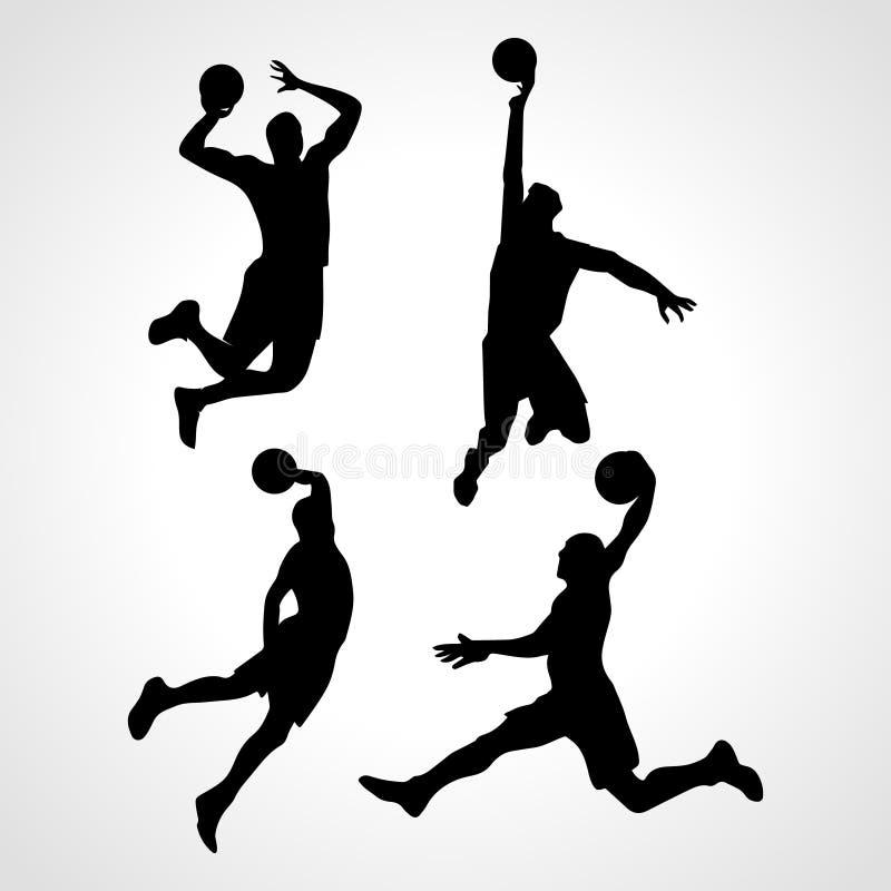 Vector de la colección de los jugadores de básquet ilustración del vector