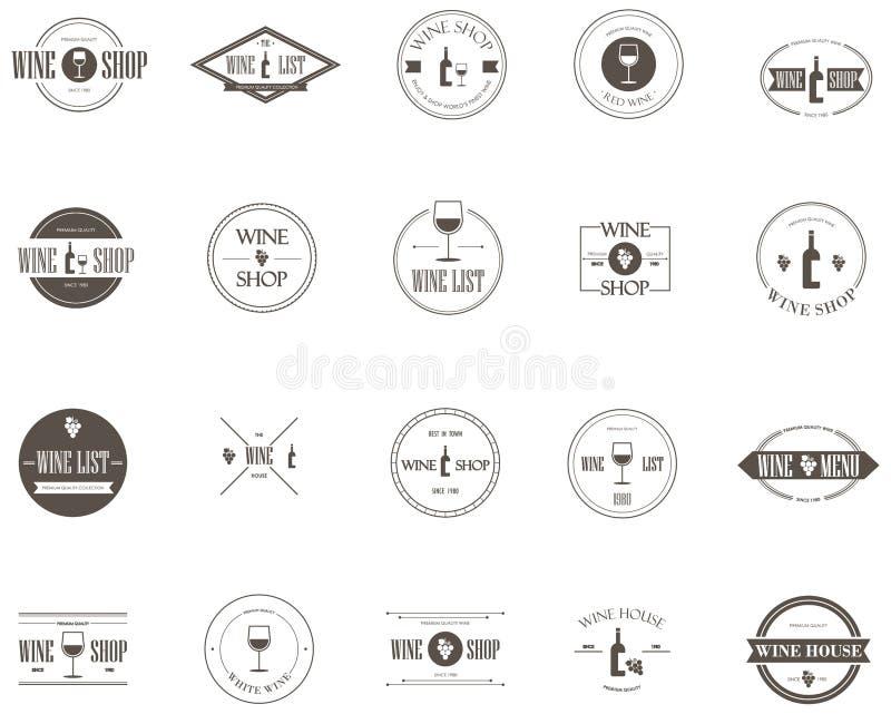 Vector de la colección del diseño de la etiqueta del vino ilustración del vector