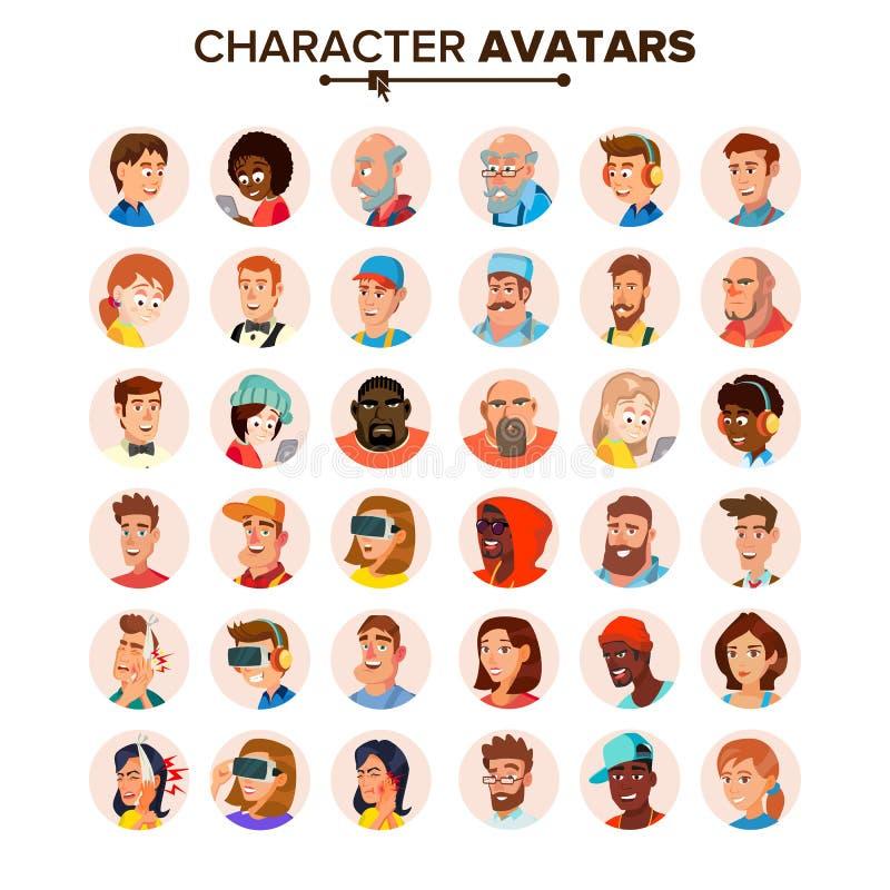 Vector de la colección de los avatares de la gente Caracteres Avatar del defecto Ejemplo aislado plano de la historieta libre illustration