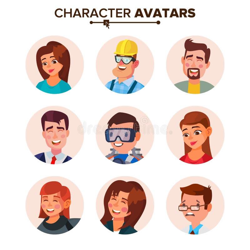 Vector de la colección de los avatares de la gente Caracteres Avatar del defecto Ejemplo aislado web de la historieta libre illustration