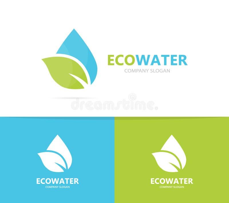 Vector de la combinación del logotipo del aceite y de la hoja Descenso y símbolo o icono del eco Agua orgánica única y diseño del stock de ilustración