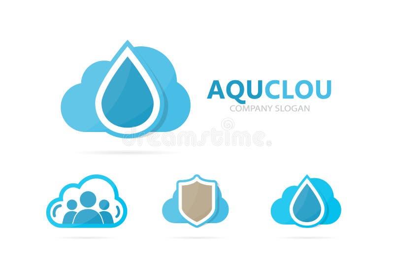 Vector de la combinación del logotipo del aceite y de la nube Descenso y símbolo o icono del almacenamiento Agua única y diseño d stock de ilustración
