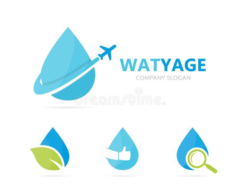 Vector de la combinación del logotipo del aceite y del aeroplano Descenso y símbolo o icono del viaje Agua del vuelo y logotipo ú stock de ilustración