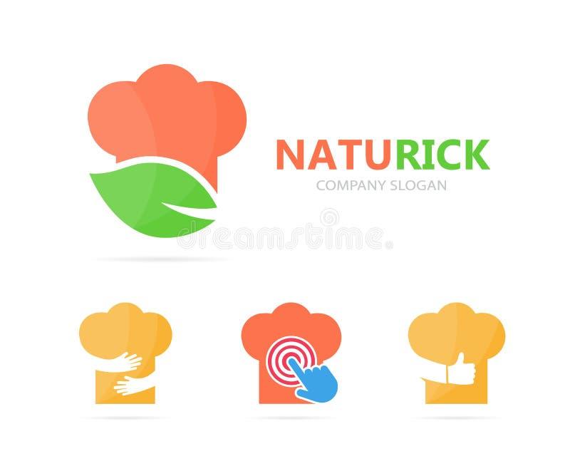 Vector de la combinación del logotipo del cocinero y de la hoja Cocina y símbolo o icono del eco Logotipo orgánico único del coci stock de ilustración