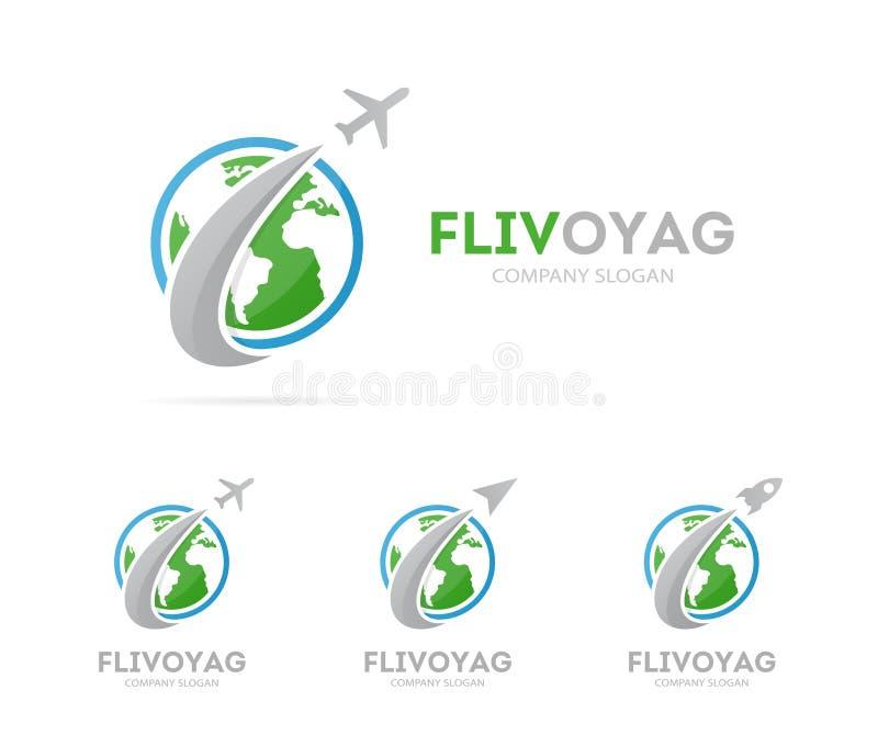 Vector de la combinación del logotipo del cohete y de la tierra Aeroplano y símbolo o icono del mundo Logotipo global y de la eco ilustración del vector