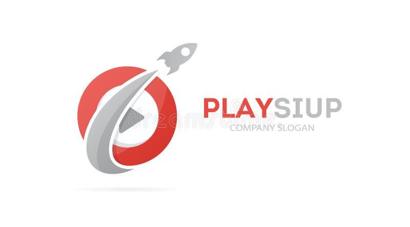 Vector de la combinación del logotipo del cohete y del botón de reproducción Aeroplano y símbolo o icono del expediente Logotipo  stock de ilustración
