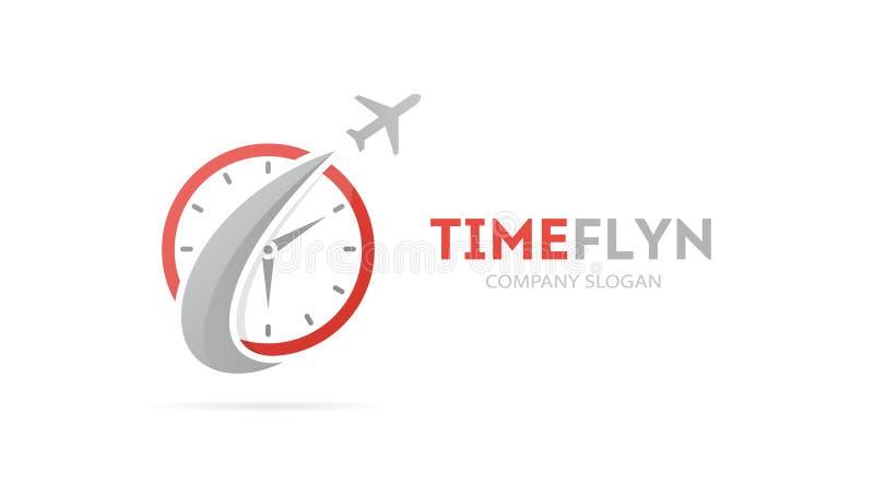 Vector de la combinación del logotipo del cohete y del reloj Aeroplano y símbolo o icono del contador de tiempo Único exprese y m ilustración del vector