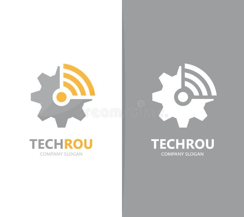 Vector de la combinación del logotipo del engranaje y del wifi Mecánico y símbolo o icono de la señal Industrial y de radio único stock de ilustración