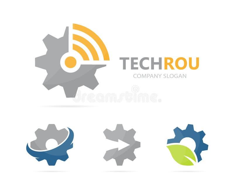 Vector de la combinación del logotipo del engranaje y del wifi Mecánico y símbolo o icono de la señal Industrial y de radio único libre illustration